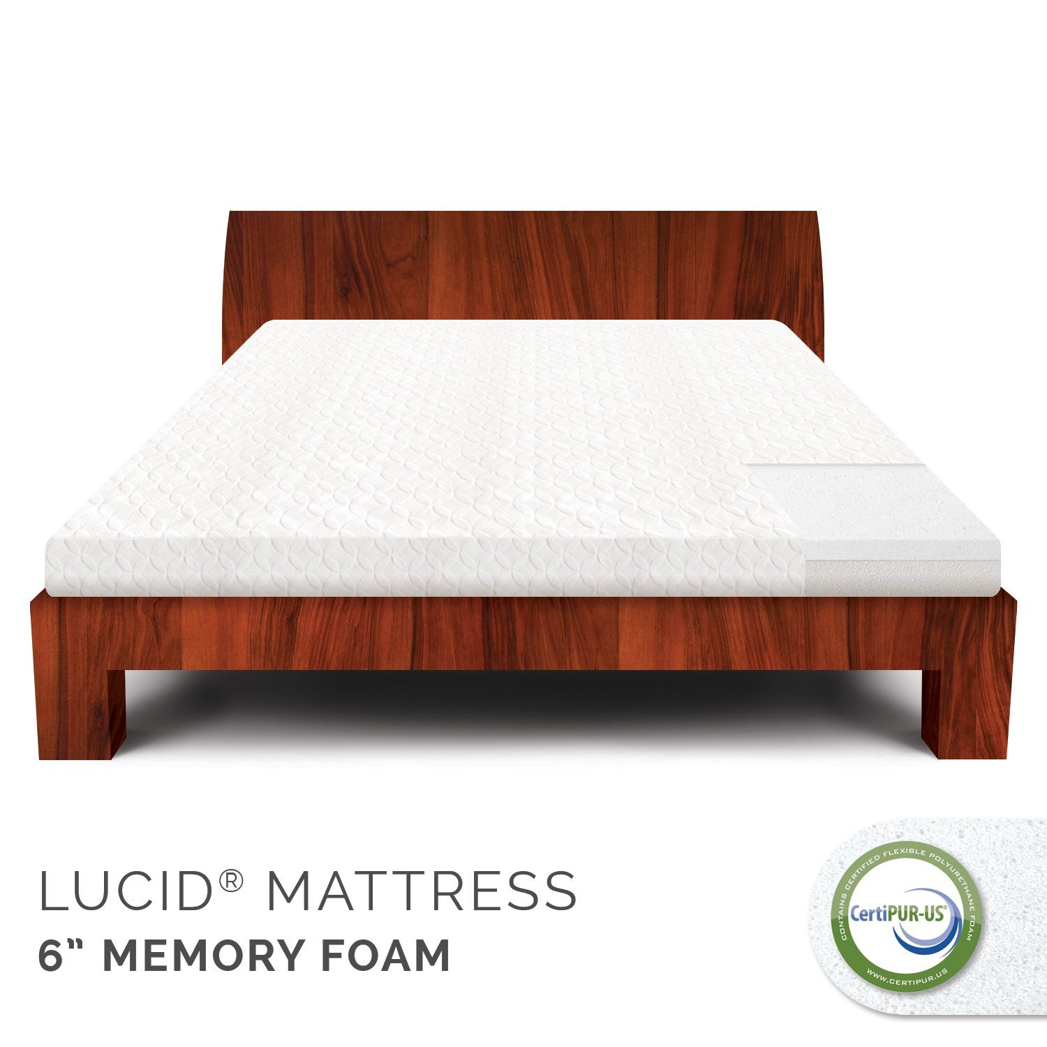 LUCID by Linenspa 6 Memory Foam Mattress 100% CertiPUR