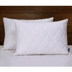 Millihome® Quilted Feather and Down Pillow, 100% Egyptian Cotton,King Size, White Pillow, Set of 2