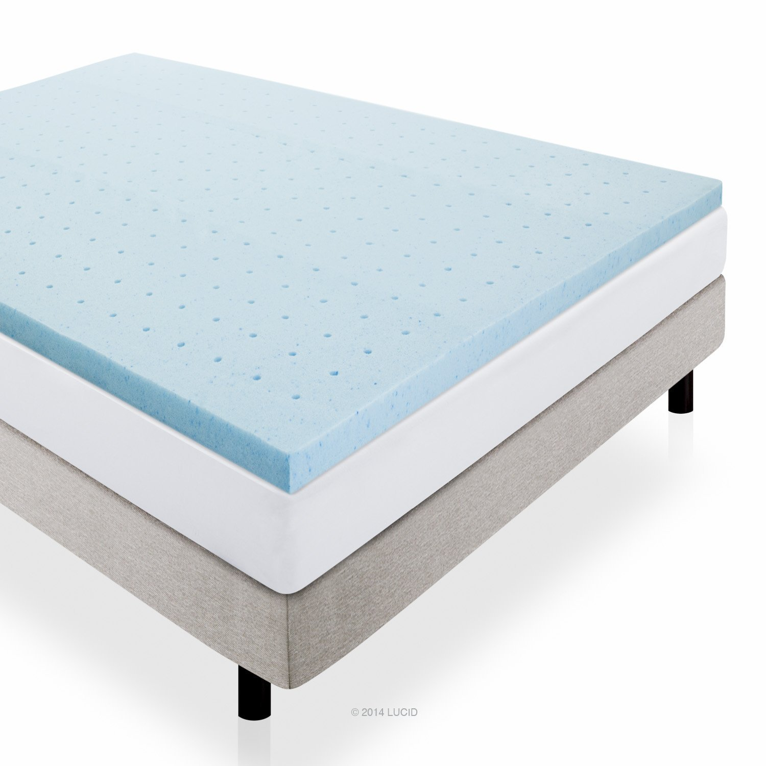 Lucid 2 inch gel infused ventilated memory foam mattress for Best foam mattress